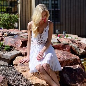 Free People White Mini Slip Dress